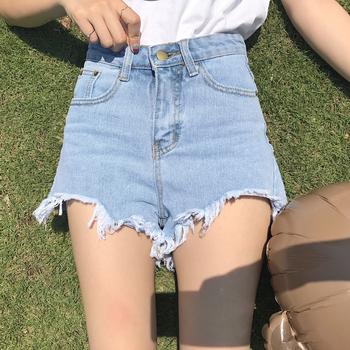 Ежедневни дамски къси панталони с висока талия и реснички по краищата на крачолите