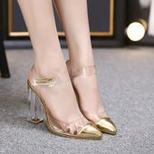 Страхотни дамски обувки на висок ток с прозрачни и златисти мотиви