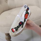 Много интересни дамски мокасини от дишаща материя с красива бродерия от едната страна на обувката