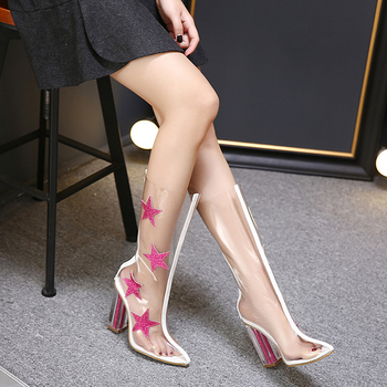Γυναικείες  καλοκαιρινές μπότες από λάτεξ με υψηλό τακούνι  με αστέρια από  μπροκάρ