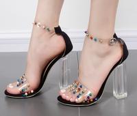 Супер свеж модел летни обувки с висок прозрачен ток и разноцветни нитове