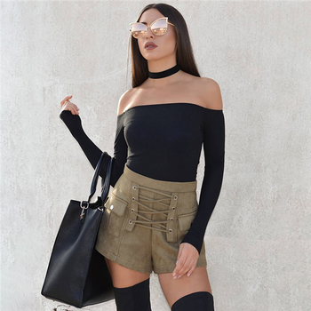 Модерни и екстравагантни дамски къси панталони с много интересни връзки и висока талия