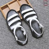 Мъжки неплъзгащи и гумени сандали в черен и бял цвят