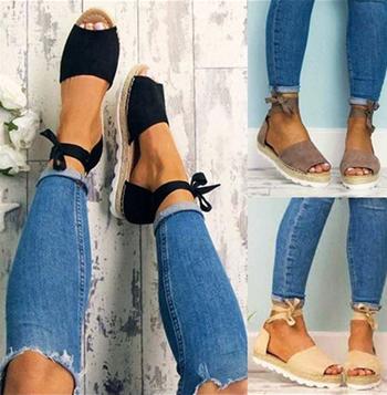 Страхотни велурени ежедневни дамски сандали с връзки около глезените - 4 цвята