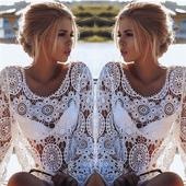 Уникална дамска бродирана прозираща блуза - подходяща и за плаж