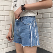 Модерени дамски къси панталони с висока талия в син цвят