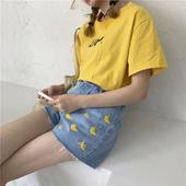 Модерни дамски къси панталони с бродерия на банани