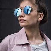 Много стилни дамски очила с UV защитни кръгли стъкла