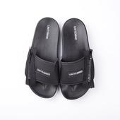 Гумени мъжки чехли с цип в черен цвят