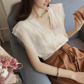 Стилна мрежеста дамска риза без ръкави с V-образно деколте