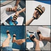 Мъжки плажни чехли в черен и оранжев цвят