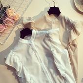 Дамска лятна риза без ръкав в бежов и бял цвят