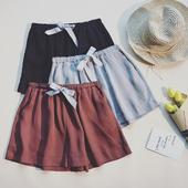 Стилни дамски къси панталони с ластик и връзки в няколко цвята - широк модел