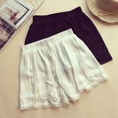 Летни дамски шорти с висока талия в черен и бял цвят