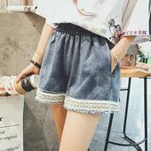 Стилни широки къси панталони за дамите с ластик и с висока талия