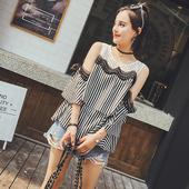 Стилна дамска раирана блуза с голи рамене - свободен стил