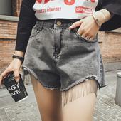 Модерни дамски къси панталони с висока талия и ресни