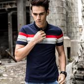 Много стилна мъжка тениска с поло яка в преливащ цвят - 3 модела