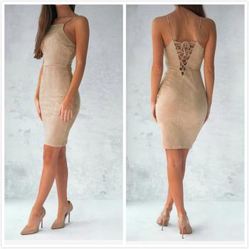 Впита по тялото дамска рокля с тънки презрамки и в 4 цвята
