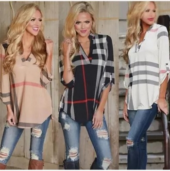 Интересна дамска широка и дълга блуза с V-образно деколте и 7/8 ръкав