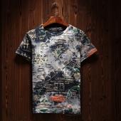 Стилна мъжка шарена ежедневна тениска с къс ръкав в два цвята
