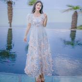 Дълга дамска елегантна рокличка с интересни флорални шарки - 2 цвята