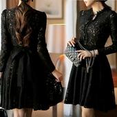Стилна дамска дантелена рокля в черен свят с дълъг ръкав