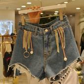 Модерни дамски къси панталони в син цвят с висока талия