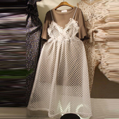 Лятна дамска рокля с бяла мрежа, подходяща за всеки ден
