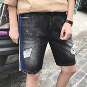 Мъжки къси панталони в тъмен цвят и накъсани