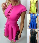 Много секси дамска къса рокличка с интересни връзки в горната част около деколтето - 4 цвята