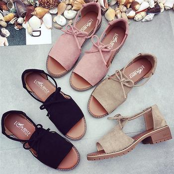Много интересни дамски велурени сандалки с връзки - 3 цвята
