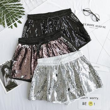 Красиви дамски къси панталони с пайети в различни цветове