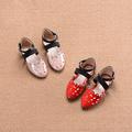 Красиви детски сандали за момичета в затворен модел в розов и червен цвят