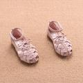 Интересен модел детски сандали за момичета в розов, черен и бежов цвят