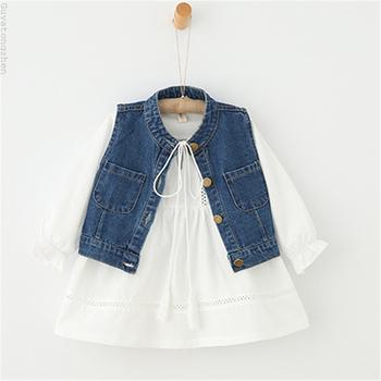 Παιδικό σετ για κορίτσια - φόρεμα σε λευκό και τζιν γιλέκο - Badu.gr ... afc9dd0a79f