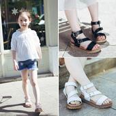 Удобни детски сандали в черен, бял и розов цвят