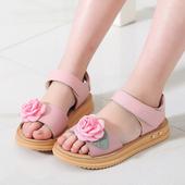 Сладки детски сандали за момичета с декорация роза
