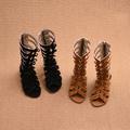 Стилни детски сандали за момичета с дълги каишки в черен и кафяв цвят