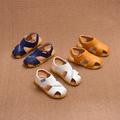 Семпъл модел детски сандали за момчета в бял, жълт и син цвят