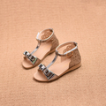 Сладки сандали за момичета с панделка в бял, сребърен и розов цвят