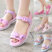 Сладки сандали за момичета в розов, бял, цикламен и син цвят с панделка