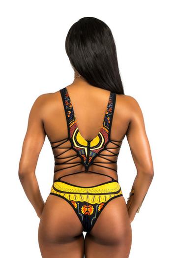 Дамски цял бански костюм за дамите  в етно мотив