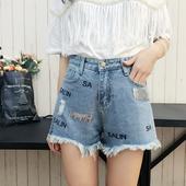 Модерни къси дънкови панталони за дамите с висока талия, надпис и декорация пайети