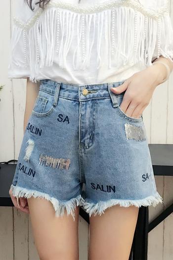 c1105fe1f12 Модерни къси дънкови панталони за дамите с висока талия, надпис и декорация  пайети