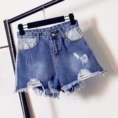 Красив модел къси дънкови панталони за дамите с висока талия