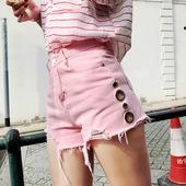 Стилен дамски къс панталон с декорация метални пръстени с висока талия