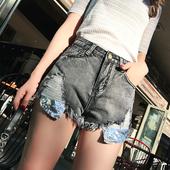 Стилни къси дънкови панталони с дълбоки джобове с пайети и висока талия