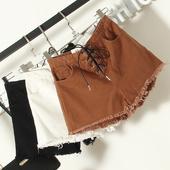Стилни къси панталони за дамите с връзки в черен, бял и кафяв цвят