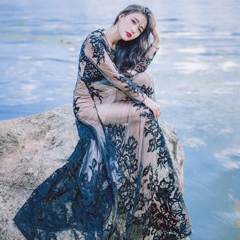 e02f2a7f26e1 Μοναδικό μακρύ κομψό γυναικείο φόρεμα με υπέροχη δαντέλα στην πλάτη  διάτρητη - 2 χρώματα